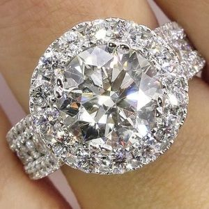 Jewelry - Vintage CZ Wedding Ring 925 Silver Filled